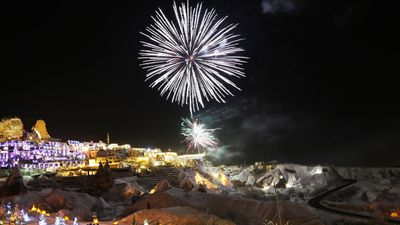 The historical region of  Cappadocia ,Turkey, took on a golden glow as 2017 began. (AFP)<br /> <br />