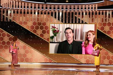 Sacha Baron Cohen with Isla Fisher at the 2021 Golden Globe Awards
