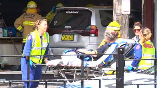 Police and emergency crews at the scene of the crash. (Nine News)