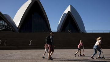 Generic. People enjoy the warmer than usual spring weather at the Opera House in Circular Quay in Sydney on September 12, 2020.