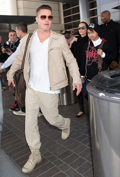 Brad Pitt seen at Los Angeles International airport on February 17, 2014