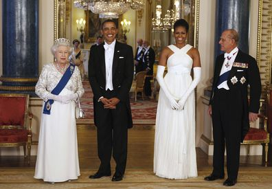 Former US President Barack Obama and former First Lady Michelle Obama at Buckingham Palace with Queen Elizabeth and Prince Philip.