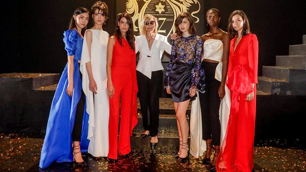 Carla Zampatti with models from her Teatro collection. Image: Getty