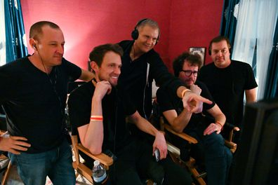 """L-r, Producer William Sherak, Director Matt Bettinelli-Olpin, Executive Producer Kevin Williamson, Director Tyler Gillett and Executive Producer Chad Villella on the set of Paramount Pictures and Spyglass Media Group's """"Scream."""""""