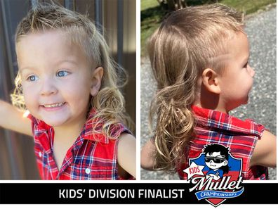 A split image of a blonde child with a mullet, left picture is front facing with the kids smiling, the right shows off the hairstyle.