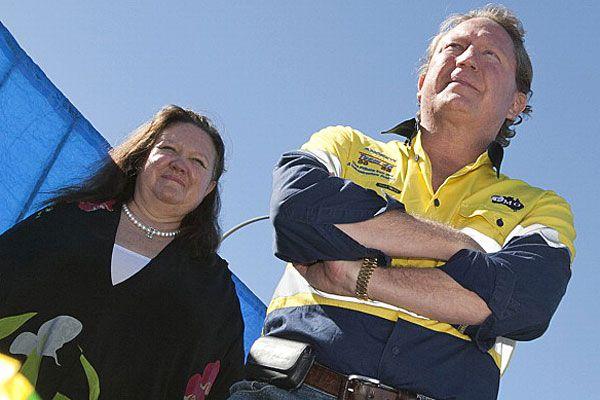 Australia's richest mining magnates Gina Rinehart (L) and Andrew (Twiggy) Forest