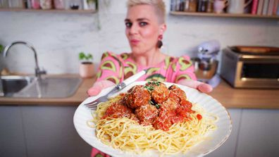 Jane de Graaff cooks movie-style meatballs, big and juicy