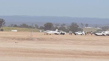 The plane made a forced emergency landing at Badgerys Creek Airport.