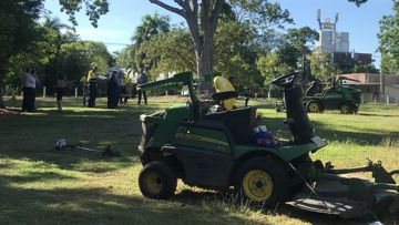 A City of Darwin worker has been injured in a lawn mowing accident.