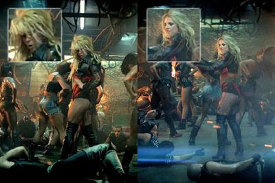 We completely understand that certain situations call for the use of body doubles, but come on… using a body double for a pop video? Watching 'Hold It Against Me', we had our suspicions that something was fishy, but Brit-Brit denied using a body double it in February. Then came the clip for 'Till The World Ends', and well… That's the choreographer's assistant Tiana Brown in the Britney-blonde wig and leather ensemble performing the clip's tricky spins.
