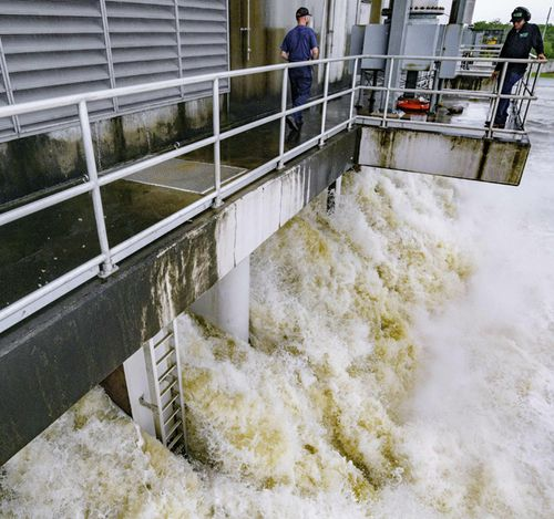 The Gulf Intracoastal Waterway West Closure Complex in Belle Chasse, Louisiana is the largest pumping station in the world. Its 11 pumps are being started because of anticipated rain from Hurricane Barry. The 11 pumps at full capacity pump 8.6 million gallons per minute, which would fill an Olympic-size swimming in 3.5 seconds.