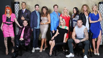 Gabi Grecko, Blake Garvey, Geoffrey Edelsten, James Mathison, Gina Liano, Richard Reid, Sophie Monk, Mel Greig, Esther Anderson, Matt Cooper, Tim Dormer and Tegan Martin make up season four of The Apprentice. (FremantleMedia Australia/Channel 9)