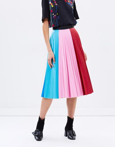 "Leather-look pleated skirt, Romance Was Born at <a href=""https://www.theiconic.com.au/continuum-pleated-skirt-502820.html"" target=""_blank"">The Iconic</a>, $371<br>"