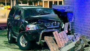 The driver smashed his car through the wall of Narellan Library.