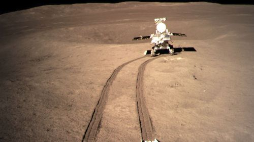 China's lunar rover leaves wheel marks after leaving the lander that touched down on the surface of the far side of the moon earlier this year.