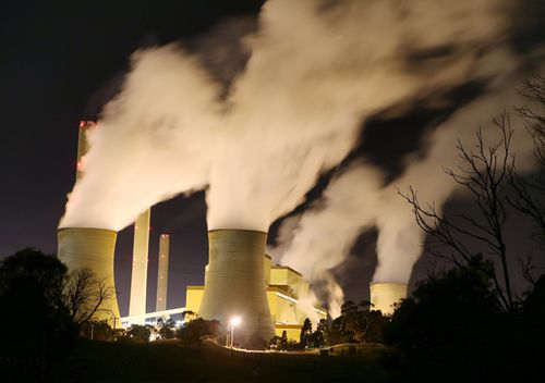Night time image Loy Yang of Power Station in the Latrobe Valley, Victoria.