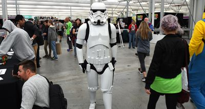 A Stormtrooper walks through the event. (AAP)