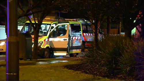 The victim was treated at the scene of the Doveton store but died before he could be taken to hospital. Picture: 9NEWS.