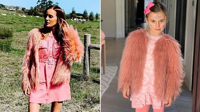 Bec Judd, daughter Billie, lookalike photo, faux fur coat
