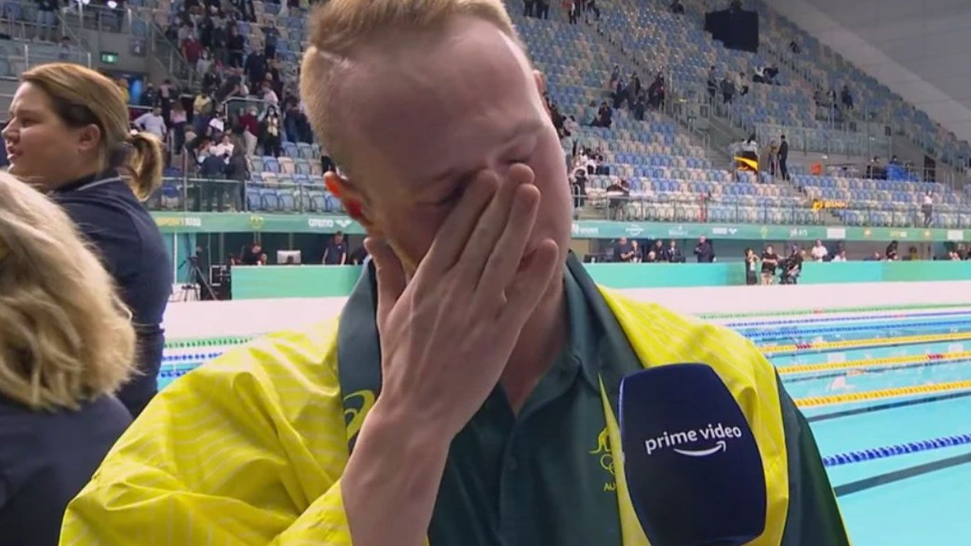 Matt Wilson breaks down after being named in the Australian team for the Tokyo Olympics.