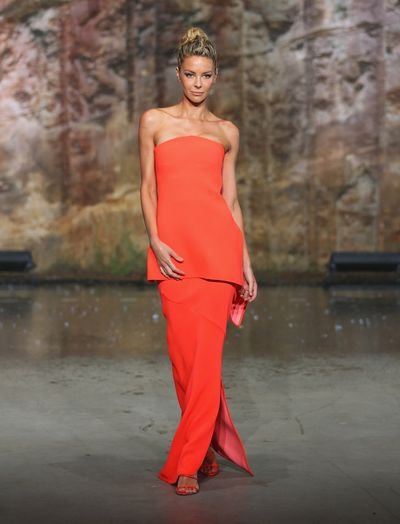 Jennifer Hawkins in Toni Maticevski on the runway at the Myer AW16 fashion launch in Sydney, February, 2016