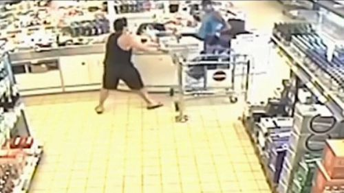 Mr Melgarejo grabbed a trolley to try to subdue Davidson after the cashier had been wounded.