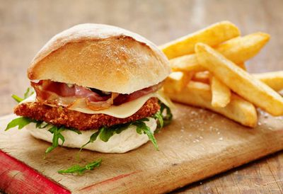 "<a href=""http://kitchen.nine.com.au/2016/05/05/11/16/pork-schnitzel-burger-with-swiss-cheese-and-pancetta"" target=""_top"">Pork schnitzel burger with Swiss cheese and pancetta<br /> </a>"