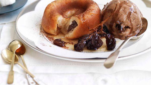 Raisin and Armagnac savarin with chocolate-raisin ice-cream