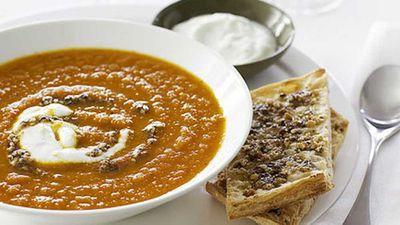 Carrot soup with hazelnut dukkah
