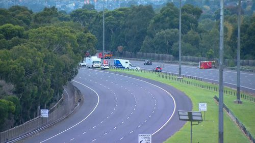 The scene of a horror crash on the Eastern Freeway in Melbourne where four police officers were killed on Wednesday night. The area remains closed on Thursday, April 23, as a major investigation is launched.