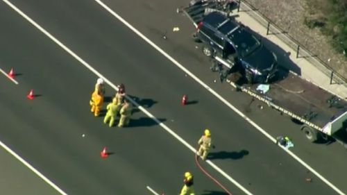 Emergency services at the scene on Tuesday. (9NEWS)