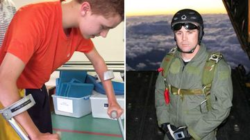 Elijah Arranz and Tony Rokov, the skydiving instructor who sacrificed his life to save him.