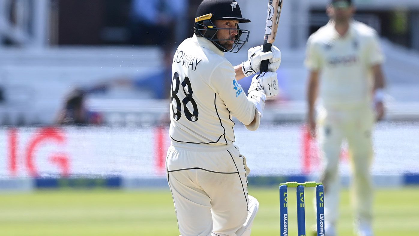 Devon Conway of New Zealand reaches his double century with a six during Day 2 of the First Test Match between England and New Zealand at Lord's.