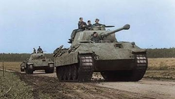 A German Panther tank in action during World War Two.