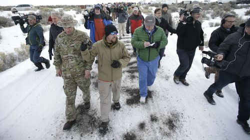 Members of the group occupying the Malheur National Wildlife Refuge HQ with the media. (AAP)