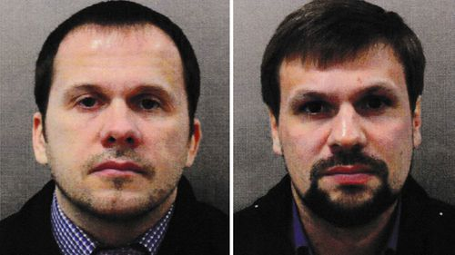 The sanctions on nine people include the two intelligence officers accused of the Salisbury nerve agent attack