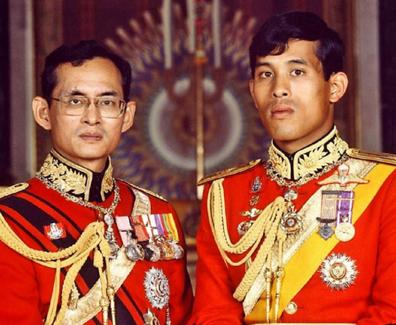 His Majesty King Maha Vajiralongkorn together with his father, the Late King Bhumibol Adulyadej.