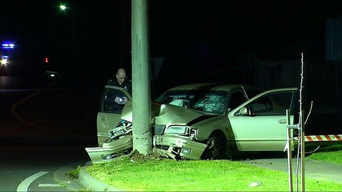 Four teenagers who weren't wearing seat belts when they crashed in a stolen car in Melbourne's south-east have been seriously injured.