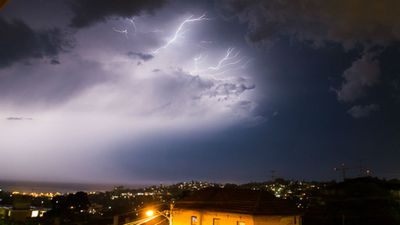 Lyndall Miller snapped this photo of lightning bolts over Coogee Beach in Sydney's east.