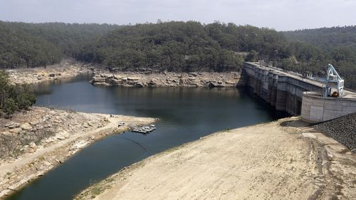 A photo of low levels of water in the Warragamba Dam at the end of January this year.