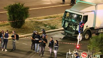 The truck used in the terror attack was riddled with bullets. (AFP)