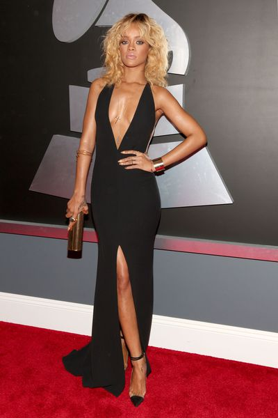 Rihanna in Armani at the 2012 Grammy Awards in Los Angeles
