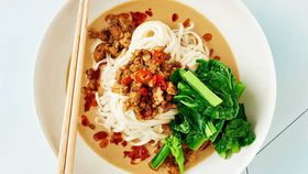 Pork dan dan noodles with choy sum recipe