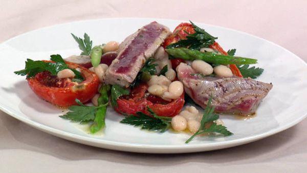 Tuna with white bean & roasted sumac tomato salad
