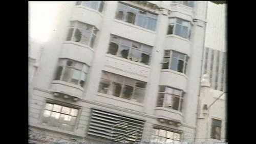 The facade of the Hilton was damaged by the blast.