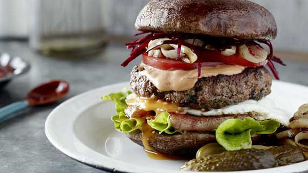 Pete Evans Mum Burger With A Grilled Mushroom Bun 9kitchen
