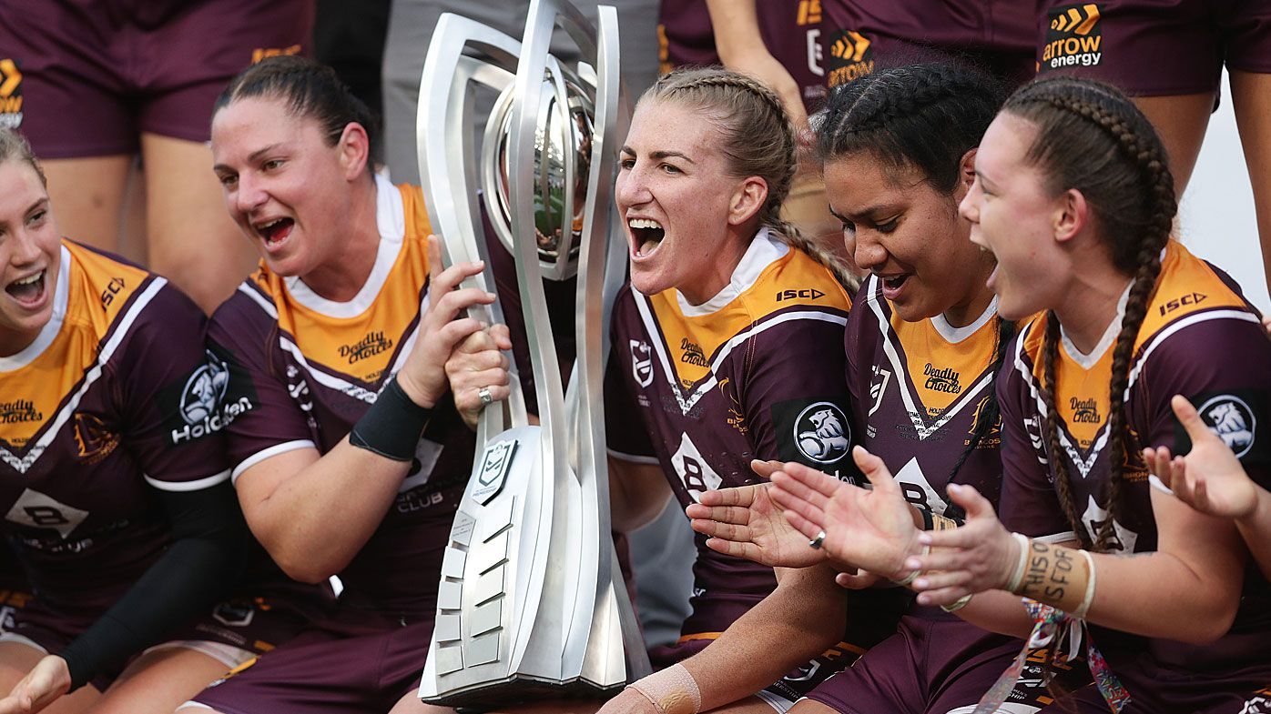 The Broncos pose with the trophy after winning the 2019 NRLW Grand Final
