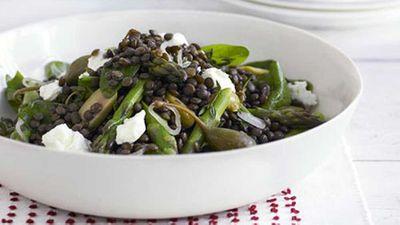 "Recipe: <a href=""http://kitchen.nine.com.au/2016/05/17/14/33/green-lentil-asparagus-and-feta-salad"" target=""_top"">Green lentil, asparagus and feta salad</a>"