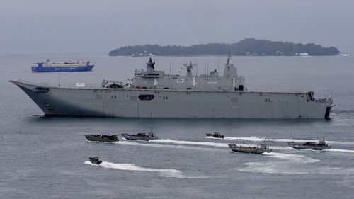 The Australian Navy has conducted military exercises near the South China Sea in response to the tensions. (AAP)