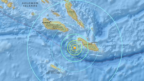 The 6.9 magnitude aftershock struck off the Solomon Islands, west of Kirakira. (US Geological Survey)